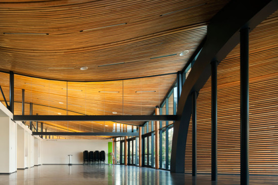Seventy-one wooden panels form the undulating ceiling. (Nic Lehoux)