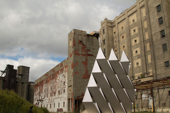 3xLP was temporarily erected in the Silo City area of Buffalo. (Raf Godlewski and Stephen Olson)