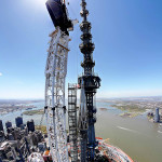 DCM Erectors fabricated a series of frames, supports, platforms, and transportation devices to safely place the beacon on top of the spire. (courtesy DCM Erectors)