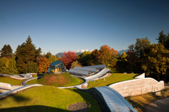The timber panels support greenroof. (Nic Lehoux)