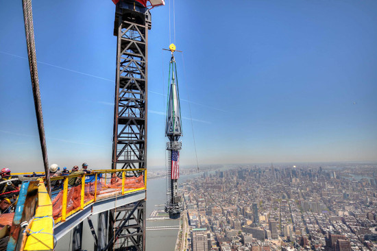 The beacon had to be lifted an additional 70 feet to be lowered into its final location. (courtesy DCM Erectors)