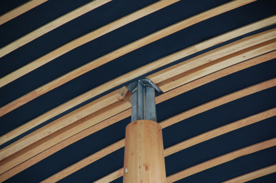 StructureCraft fabricated irregular roofing panels and structural support columns from FSC-certified timber. (Stephen Pasche)