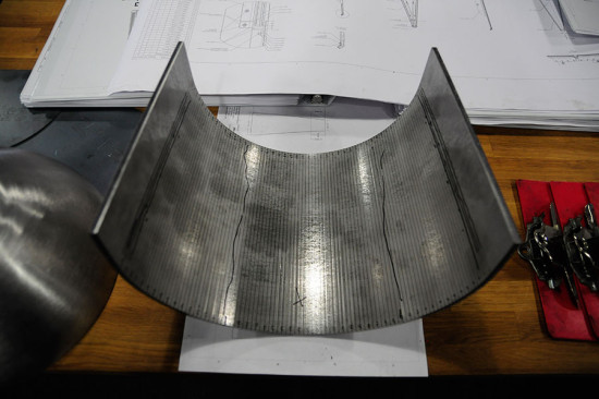 The fabricators laser-scribed lines at every 1/8-inch along the panel's interior. (courtesy Kammetal)