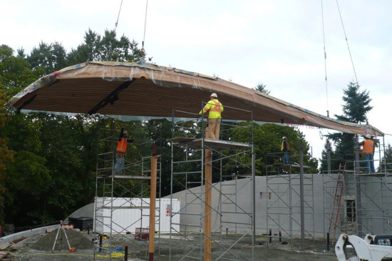 The modular panels were craned into place on site. (courtesy StructureCraft)