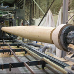 Solid timber columns are milled on StructureCraft's lathe. (courtesy StructureCraft)
