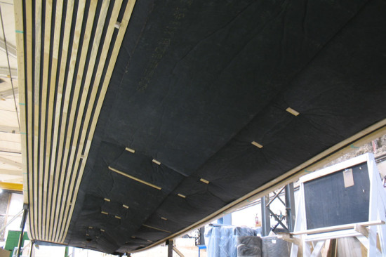 Battens are affixed to black liner along the interior panels. (courtesy StructureCraft)
