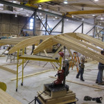 Glulam ribs are affixed to 2- by 8-foot joists. (courtesy StructureCraft)