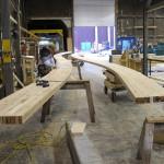 Fabricating the Glulam panels (courtesy StructureCraft)