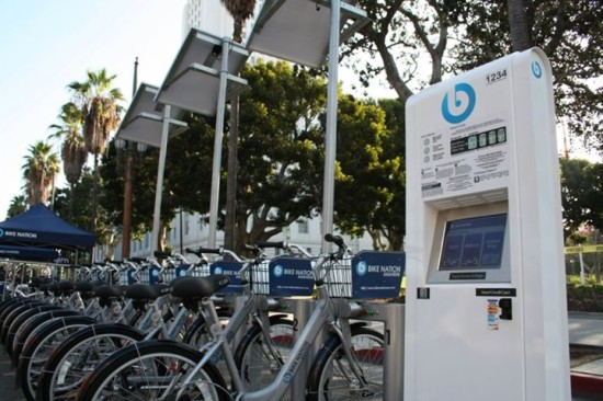Bike Nation kiosk set up for CicLAVia last year (Bike Nation)