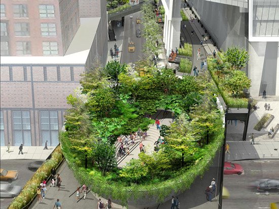 A large, green bowl, dubbed the Spur, will float above the intersection 10th Avenue and 30th Street as part of the final phase of the High Line(Image James Corner Field Operations and Diller Scofidio + Renfro / Courtesy the City of New York)
