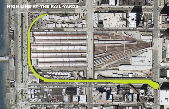 Phase 3 of the High Line will wrap around the West Side Rail Yards, soon to be the home of the massive Hudson Yards development, before terminating on 34th Street (Courtesy Friends of the High Line)