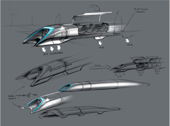 HYPERLOOP PASSENGER TRANSPORT CAPSULE CONCEPTUAL DESIGN SKETCH (ELON MUSK/SPACEX)