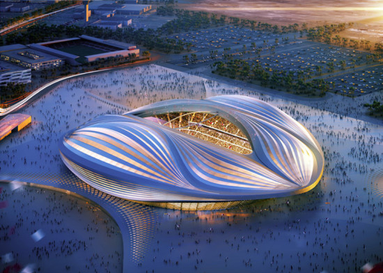 The design is allegedly based upon the Dhow, a type of Arabian sailing ship. (Courtesy Zaha Hadid Architects)