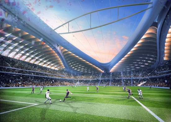 The stadium will employ passive cooling measures, as well as regular air conditioning, to maintain a bearable environment. (Courtesy Zaha Hadid Architects)
