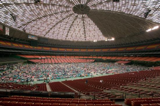 Inside the Houston Astrodome in 2005 when it houses Hurricane Katrina survivors. (Kelly Garbato / Flickr)