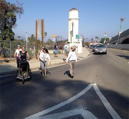 NONEXISTENT CROSSWALKS, NARROW SIDEWALKS, AND NO BIKE LANES MAKE HYPERION BRIDGE DANGEROUS FOR PEDESTRIANS AND CYCLISTS. (COURTESY LOS ANGELES WALKS)