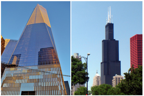 Left: 1 World Trade Center; Right: Willis Tower. (Pat Hawks and gigi_nyc via Flickr; composite by A|N)