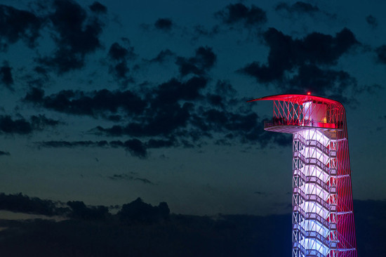 The tower is composed of a double helix staircase that twists around a central lift. (courtesy Circuit of the Americas)