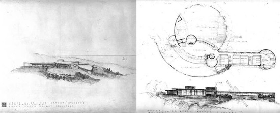 Frank Lloyd Wright's 1947 design for the O'Keefe House. (Courtesy Frank Lloyd Wright Foundation)