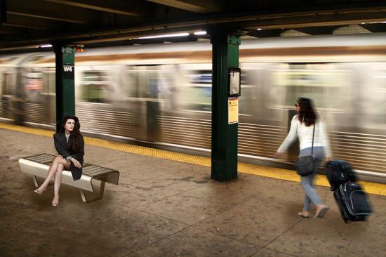 Balsley designed a seating option for busy pedestrian areas, like train platforms. (courtesy Thomas Balsley Associates)