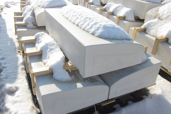 Precast units went through Buffalo's natural freeze-thaw testing before being shipped. (James Dudley/SiteWorks)