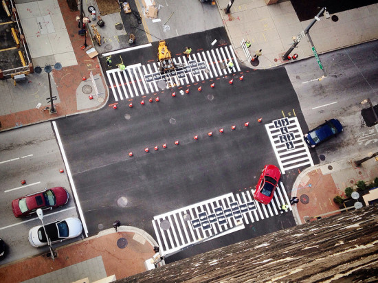BALTIMORE'S HOPSCOTCH CROSSWALK - VIEW FROM ABOVE (COURTESY GRAHAM CORELL-ALLEN/ VIA FLICKR)