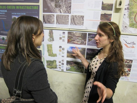 Landscape Architecture student Leah Grosso explaining her design at a recent exhibition of work from participants in Penn State's Pittsburgh Studio (Courtesy Bianca Barr)
