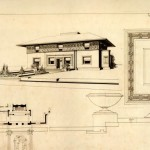 This drawing of the Winslow House was prepared in 1910 for use in the porfolio of Wright's drawings published in Germany by Ernst Wasmuth. (© 1985 the Frank Lloyd Wright Foundation)