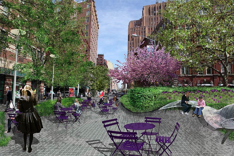 New york expands public plaza program to create and for Mathews nielsen landscape architects