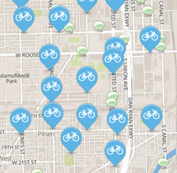 A screenshot of Divvy stations, in blue, and suggestions in green. (Divvy)