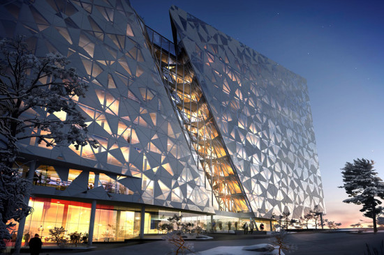 The Deloitte Building envelope is composed of 650 white aluminum and glass panels. (courtesy Snøhetta)