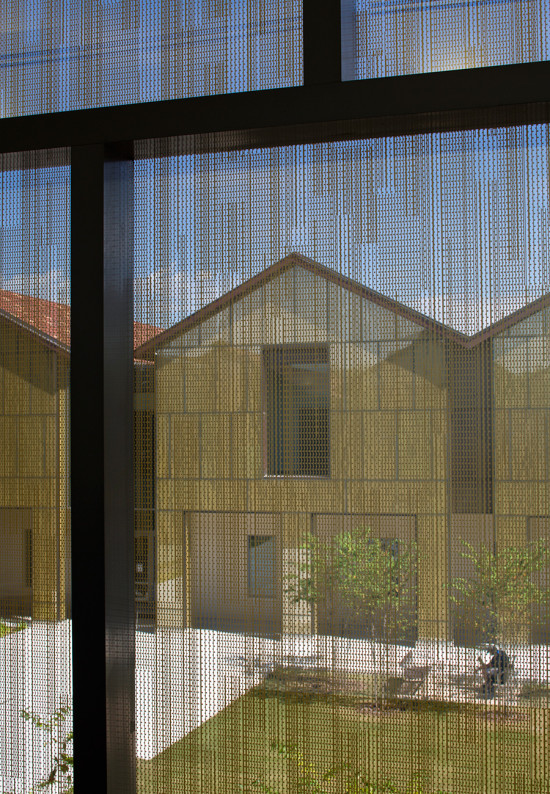 Looking out from within the glass-clad classroom pavilions (Brad Feinknopf/Feinknopf)