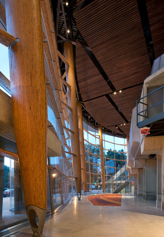 The perimeter is lined with 18 weight bearing columns fabricated from parallel strand lumber. (Nic Lehoux)