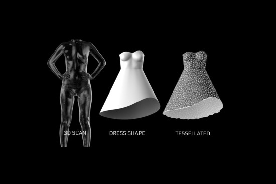A 3D scan of the wearer's body provides exact dimensions for the tesselated plate design. (courtesy Nervous System)