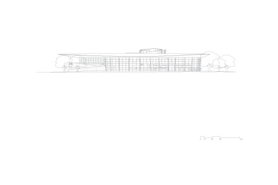 An elevation of the Mead Center for Performing Arts. (courtesy Bing Thom Architects)