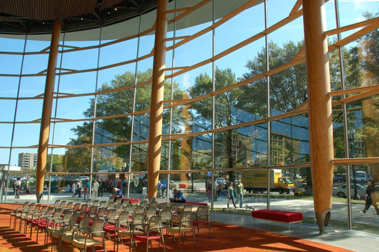 The columns were installed at a 4 degree tilt to minimize glare. (courtesy StructureCraft)