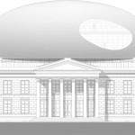 A spherical shape treats the original building as a pedestal. (courtesy Bierman Henket Architecten)
