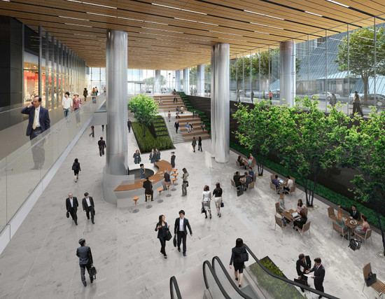 The 750,000-square-foot project includes a double-height lobby that connects directly to Houston's underground tunnel system. (Courtesy Gensler)
