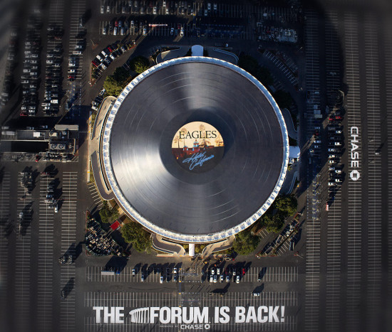 Aerial view of the Forum's giant record. (Los Angeles Forum)