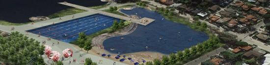 SWIM SILVER LAKE IMAGINES THE RESERVOIR COMPLEX TRANSFORMED INTO A RECREATIONAL LAKE (SWIM SILVER LAKE)