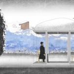A rendering of Smiljan Radic's bus stop with mounted birdhouse (courtesy kulturkrumnach)