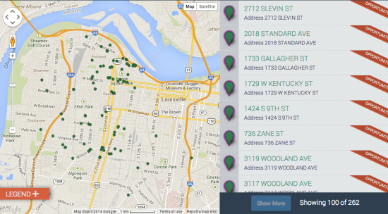 A screenshot of Louisville's Lots of Possibility map of vacant properties that the city has made available for the design competition.