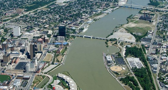 Aerial view of Toledo's waterfront. (Courtesy North Coast Design Competition)