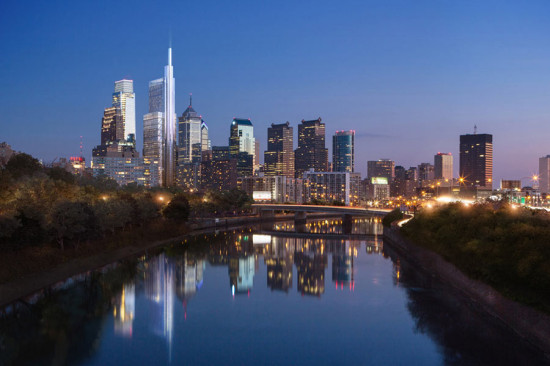 Rendering of Norman Foster's new skyscraper on the Philadelphia skyline. (Courtesy Foster + Partners)