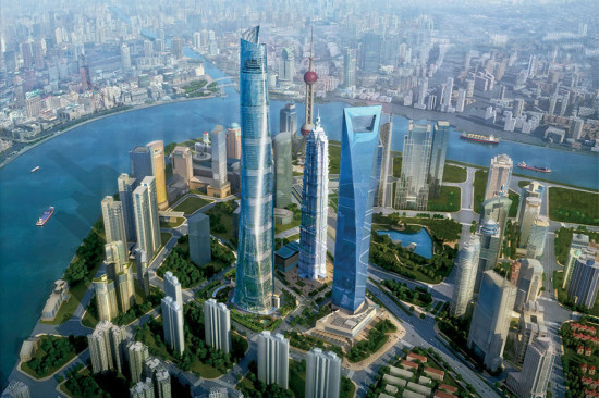 Rendering of the super-tall Shanghai Tower.