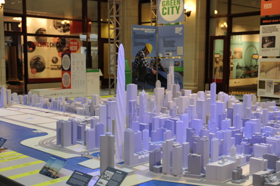 The chicago spire towers over the Chicago Architecture Foundation's model of the city. (Chicago Architecture Foundation)