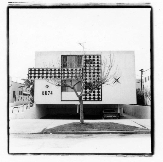 THE DINGBAT IS A STUCCO BOX WITH APPLIED ORNAMENT AND A GROUND-FLOOR CARPORT (JUDY FISKIN, UNTITLED, FROM DINGBAT 1982-1983)