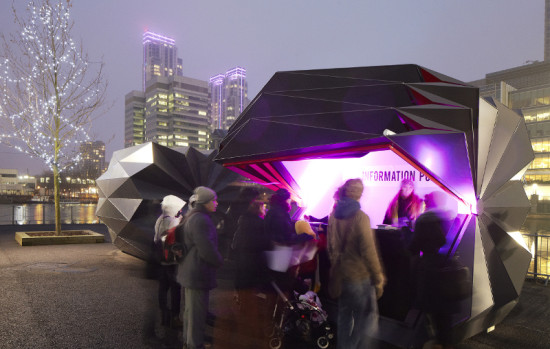 THE KIOSK OPENS TO REVEAL A SIMPLE INTERIOR WITH ADAPTABLE FIT-OUT FEATURES (MAKE ARCHITECTS)
