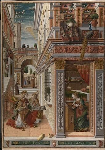 Carlo Crivelli (1430/5–1494), The Annunciation with Saint Emidius,1486. (Courtesy National Gallery, London)