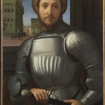 Attributed to Francesco Granacci 1469/70 - 1543, Portrait of a Man in Armour about 1510. (Courtesy National Gallery, London)